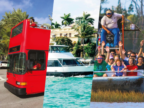 MIAMI DOUBLE DECKER + BOAT TOUR + EVERGLADES